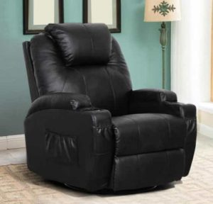 Esright Massage Recliner Chair- Leather Recliner with Cup Holder