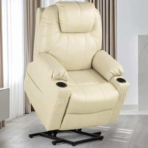 YITAHOME Power Lift Recliner Chair for Elderly, Faux Leather Recliner with 2 Cup Holders